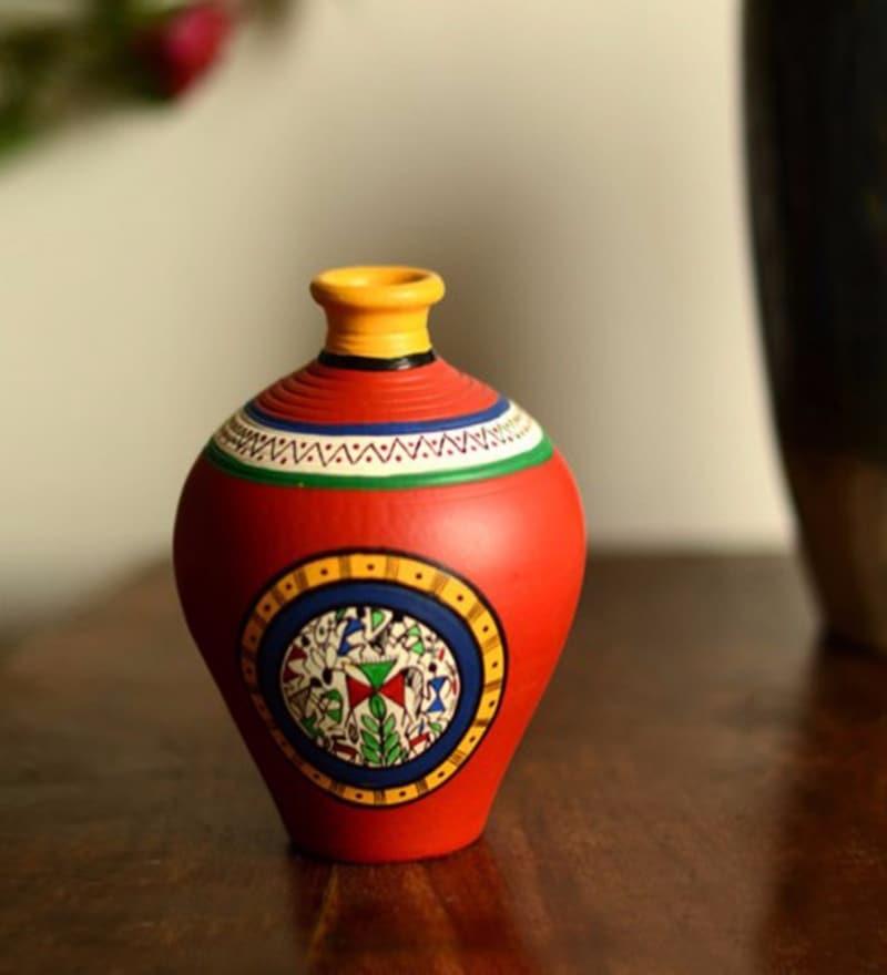 Exclusivelane Red Terracotta Hand Painted Warli Matki Neck Vase