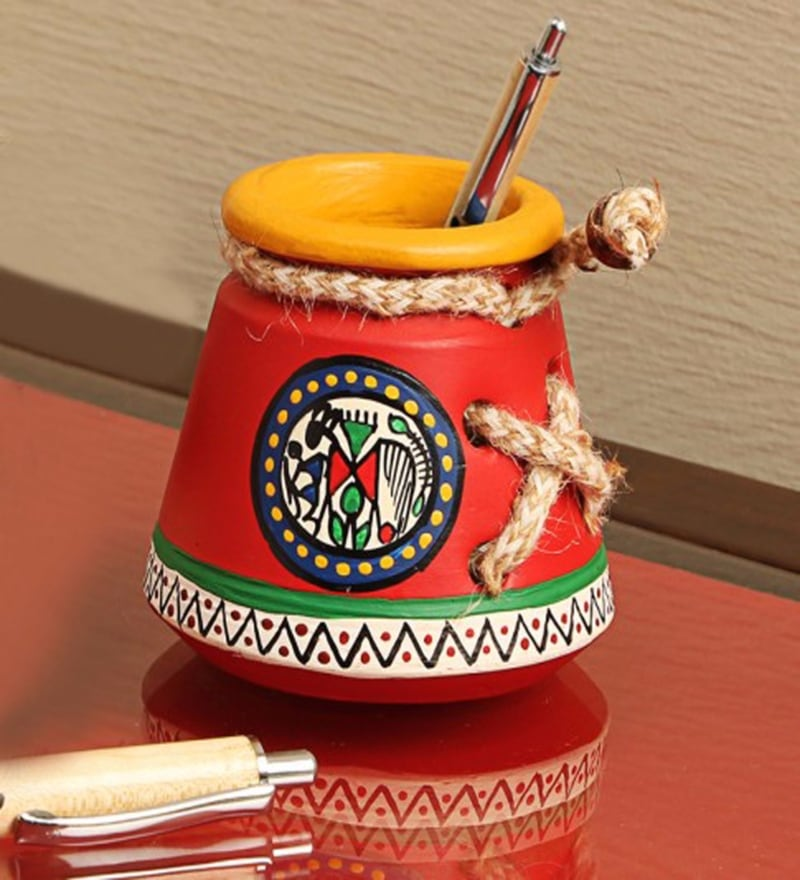 Red Terracotta Warli Hand Painted Pen Stand by ExclusiveLane