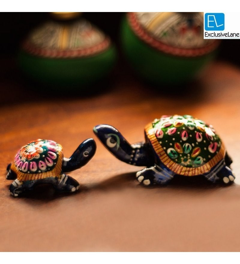 Royal Blue Metal Hand Enamelled Meenakari Tortoise Showpieces - Set of 2 by ExclusiveLane