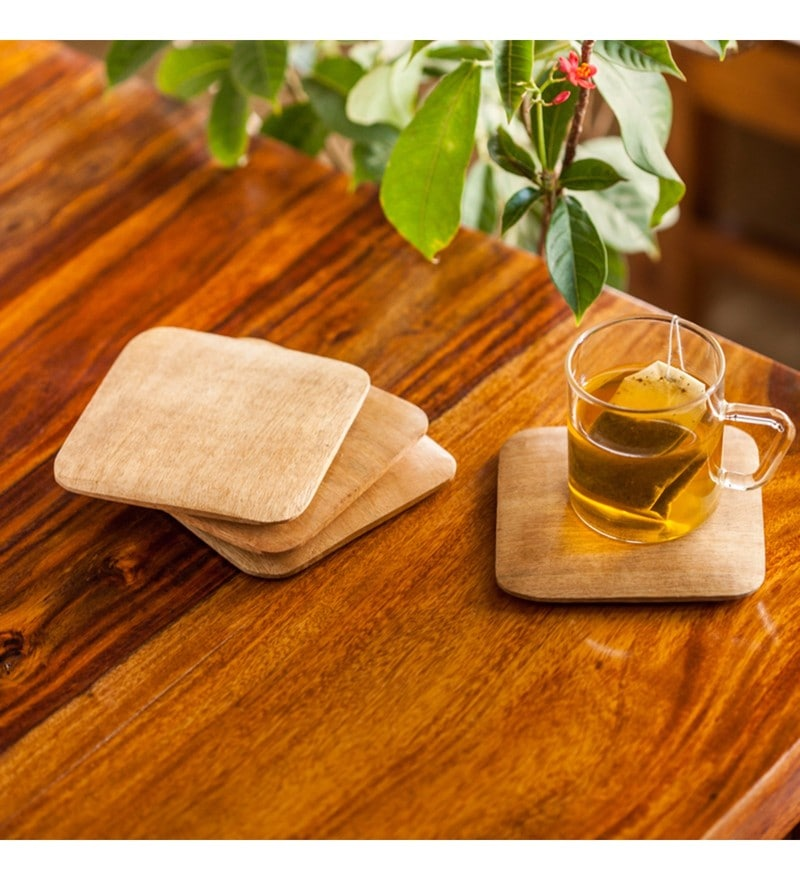 Exclusivelane Square Tapered Brown Wood Coasters - Set of 4
