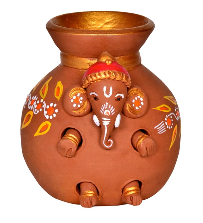 Brown Terracotta Hand Painted Baby Ganesha Coming Out from the Matki Idol by ExclusiveLane