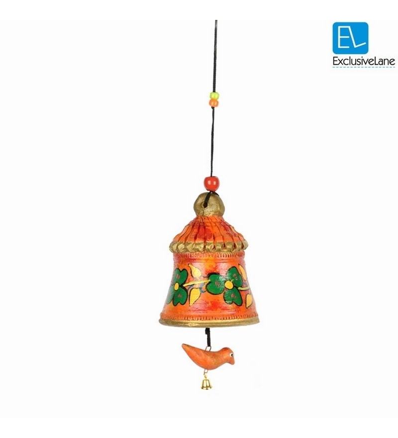 Exclusivelane Multicolour Terracotta Hand Painted Hanging Bell