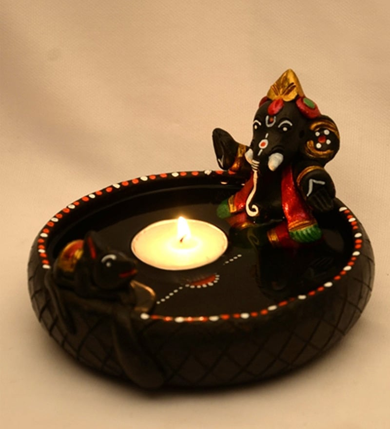 ExclusiveLane Black Terracotta Hand-painted Pound Ganesha Diya