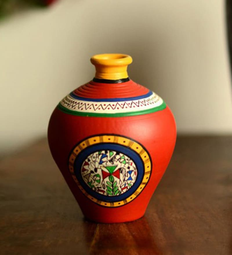 ExclusiveLane Red Terracotta 5.5 x 6 inch Warli Hand-Painted Matki Vase
