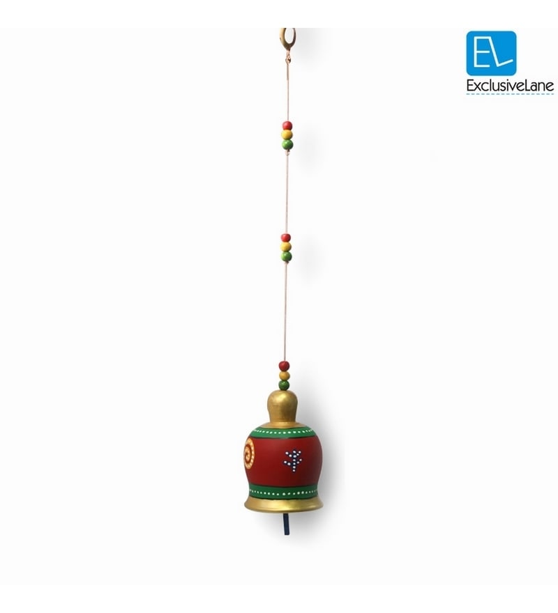 Multicolour Terracotta Hand Painted Hanging Bell by ExclusiveLane