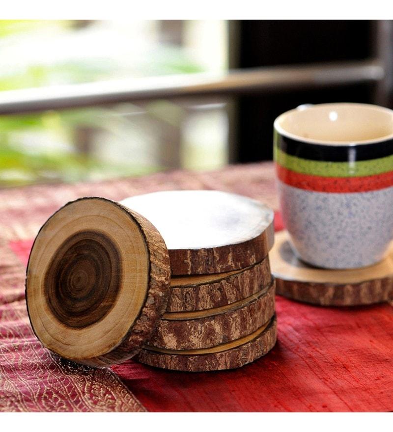 Exclusivelane Tree Cut Natural Brown Wood Coasters - Set of 6