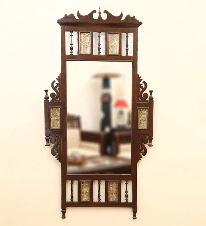 Walnut Teak Wood Maharaja Dhokra Work Wall Mirror by ExclusiveLane