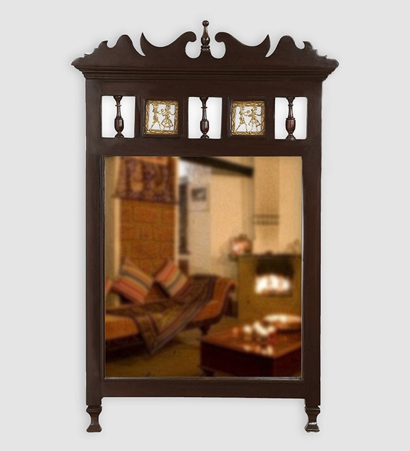 Walnut Teak Wood Royal Dhokra Work Wall Mirror by ExclusiveLane