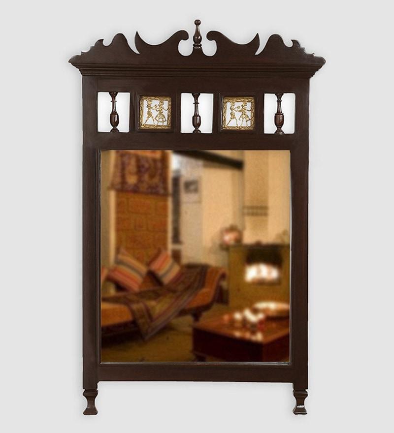 Walnut Teak Wood Royal Dhokra Work Wall Mirror by ExclusiveLane