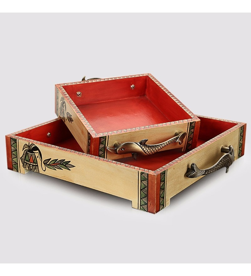 Exclusivelane Warli Handpainted Beige & Red Recycled Wood Trays - Set of 2