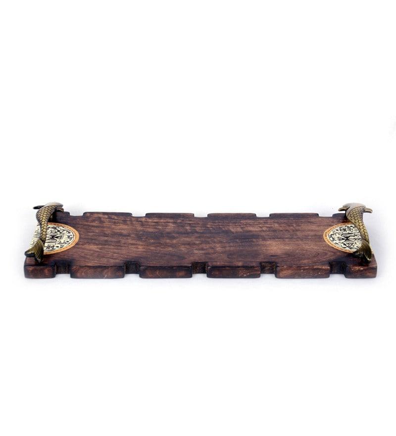ExclusiveLane Warli Handpainted Mango Wood & Brass Tray