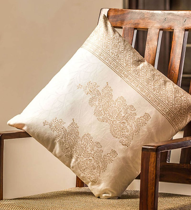 Exclusivelane White & Gold 100% Cotton 16 x 16 Inch Charmer Wooden Handblocked Cushion Cover