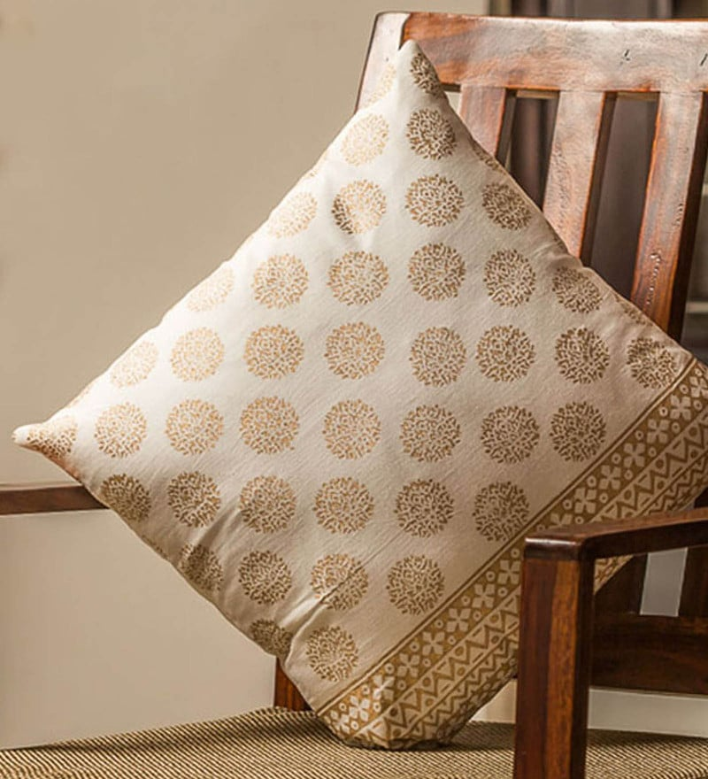 Exclusivelane White & Gold 100% Cotton 16 x 16 Inch Ebony Wooden Handblocked Cushion Cover