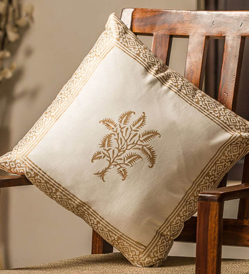 Exclusivelane White & Gold 100% Cotton 16 x 16 Inch Fern Wooden Handblocked Cushion Cover