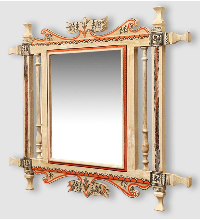 White & Gold Teak Wood Maharja Warli Art Wall Mirror by ExclusiveLane