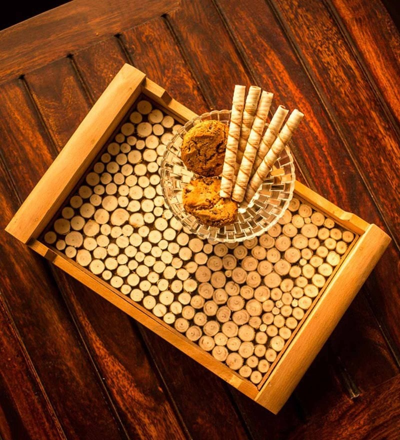 Exclusivelane Wooden Cut Pieces Serving Tray