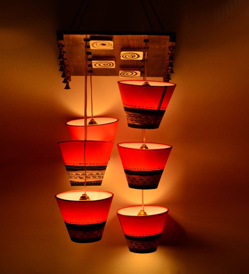Buy Warli Patch 6 Light Chandelier By Exclusivelane Online Indian Ethnic Chandeliers Pepperfry