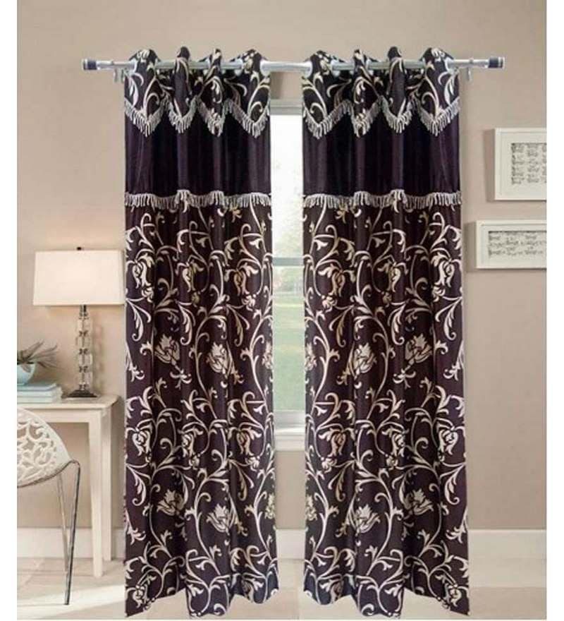 Multicolour Polyester 84 x 48 Inch Floral Eyelet Door Curtain - Set of 2 by Exporthub