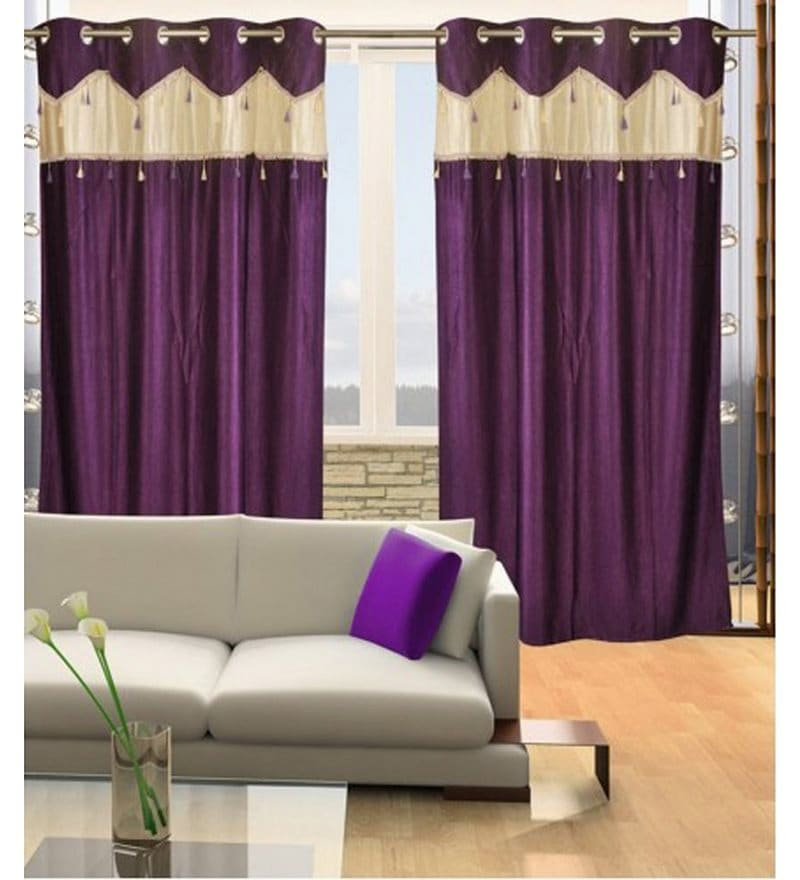 Purple Polyester 84 x 48 Inch Solid Eyelet Door Curtain - Set of 2 by Exporthub
