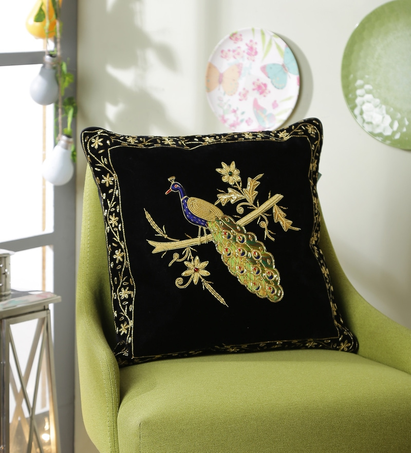 Black Polyester 16 x 16 Inch Zari Peacock Cushion Cover by Eyda