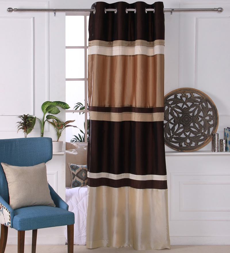 Brown & Ivory Polyester 53 x 84 Inch Lurex Pleat Door Curtains - Set of 2 by Eyda