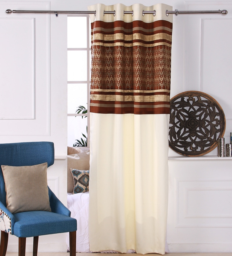 Brown Polyester 53 x 84 Inch Geomatics Black Out Door Curtains - Set of 2 by Eyda