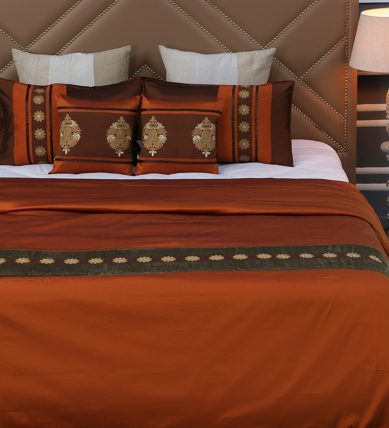 Brown Polyester Queen Size Bed Cover - Set of 5 by Eyda