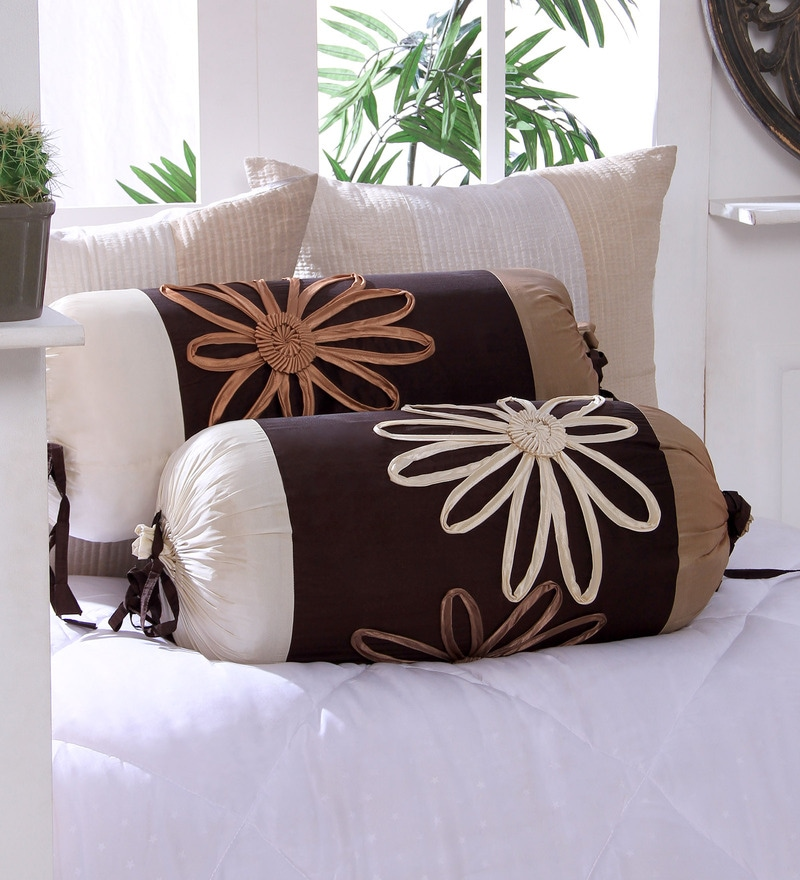 Choco Polyester 16 x 30 Inch Satin Tape Bolster Covers - Set of 2 by Eyda
