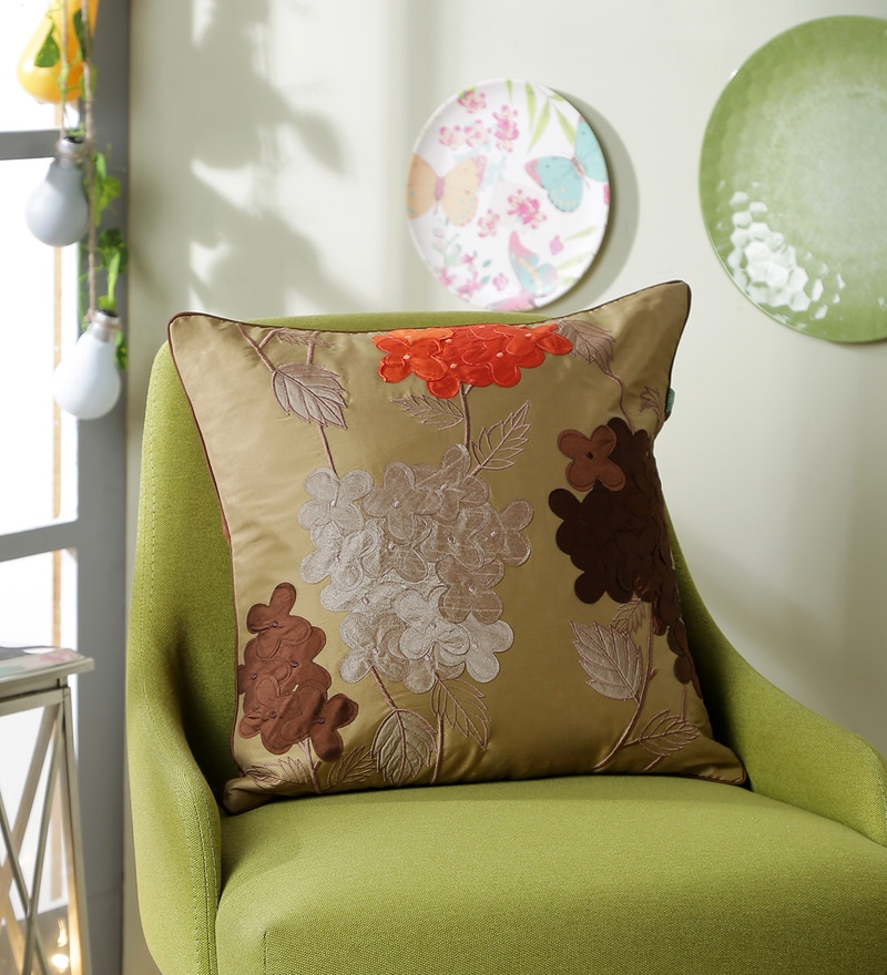 Gold Polyester 16 x 16 Inch 3D Flower Cushion Cover by Eyda