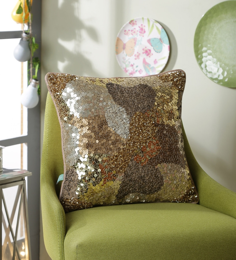 Gold Polyester 16 x 16 Inch Glamour Sequin Cushion Cover by Eyda