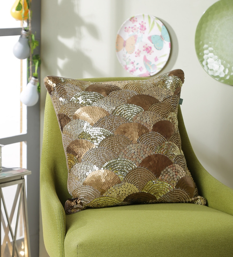 Gold Polyester 16 x 16 Inch New Glamour Cushion Cover by Eyda