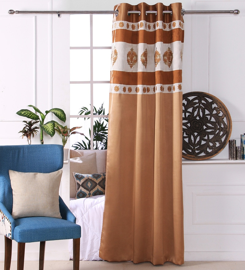 Gold Polyester 53 x 84 Inch Damask Black Out Door Curtains - Set of 2 by Eyda