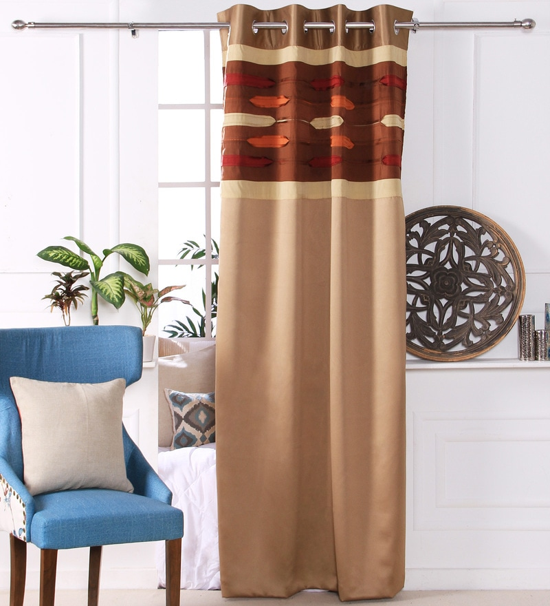 Gold Polyester 53 x 84 Inch New Pleat Black Out Door Curtains - Set of 2 by Eyda