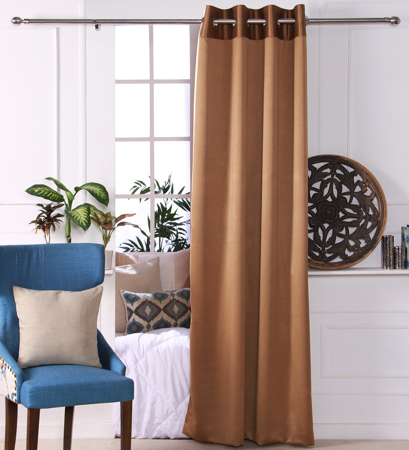 Gold Polyester 53 x 84 Inch Plain Black Out Door Curtains - Set of 2 by Eyda