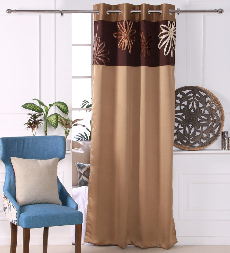 Gold Polyester 53 x 84 Inch Satin Tape Black Out Door Curtains - Set of 2 by Eyda