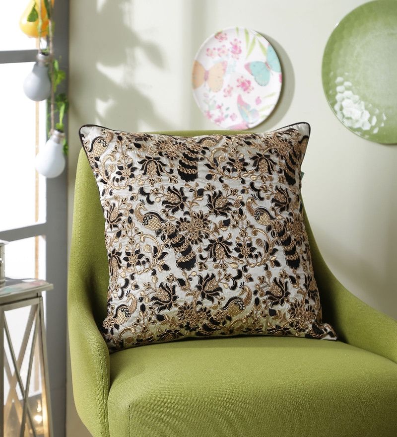 Ivory Polyester 16 x 16 Inch Swarn Peacock Cushion Cover by Eyda