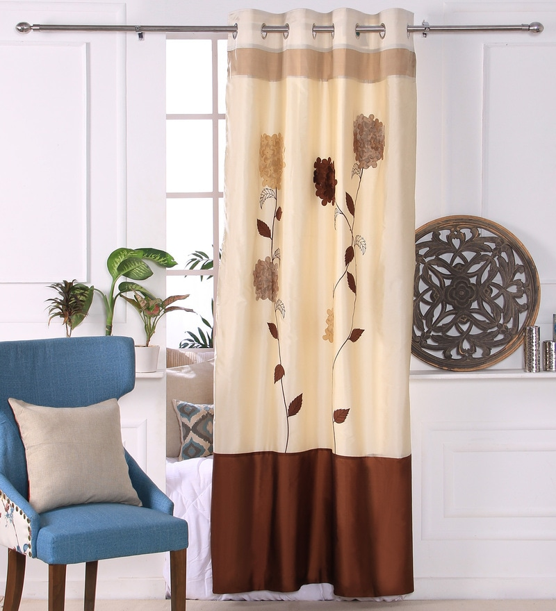 Ivory Polyester 53 x 84 Inch 3D Flower Door Curtains - Set of 2 by Eyda