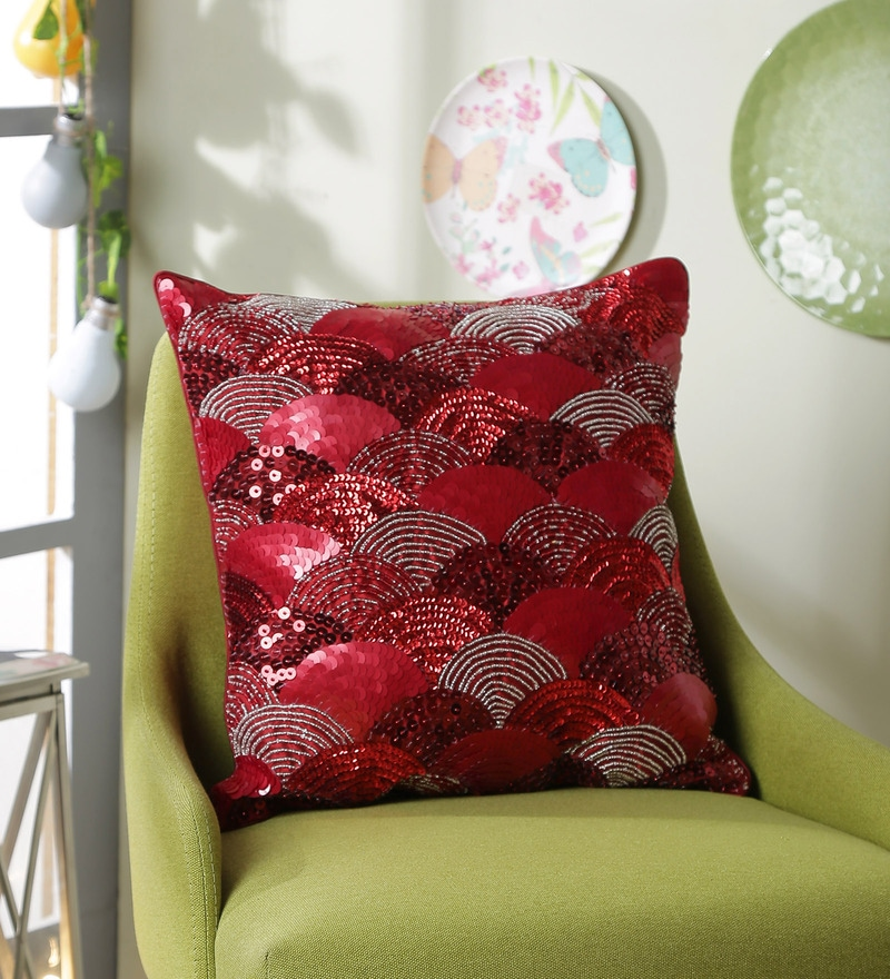 Red Polyester 16 x 16 Inch New Glamour Cushion Cover by Eyda