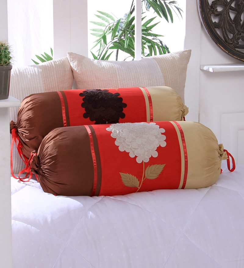 Red Polyester 16 x 30 Inch 3D Flower Bolster Covers - Set of 2 by Eyda