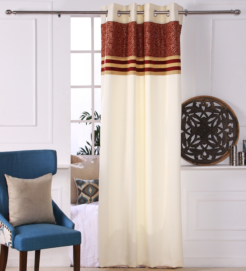 Red Polyester 53 x 84 Inch Carry Black Out Door Curtains - Set of 2 by Eyda