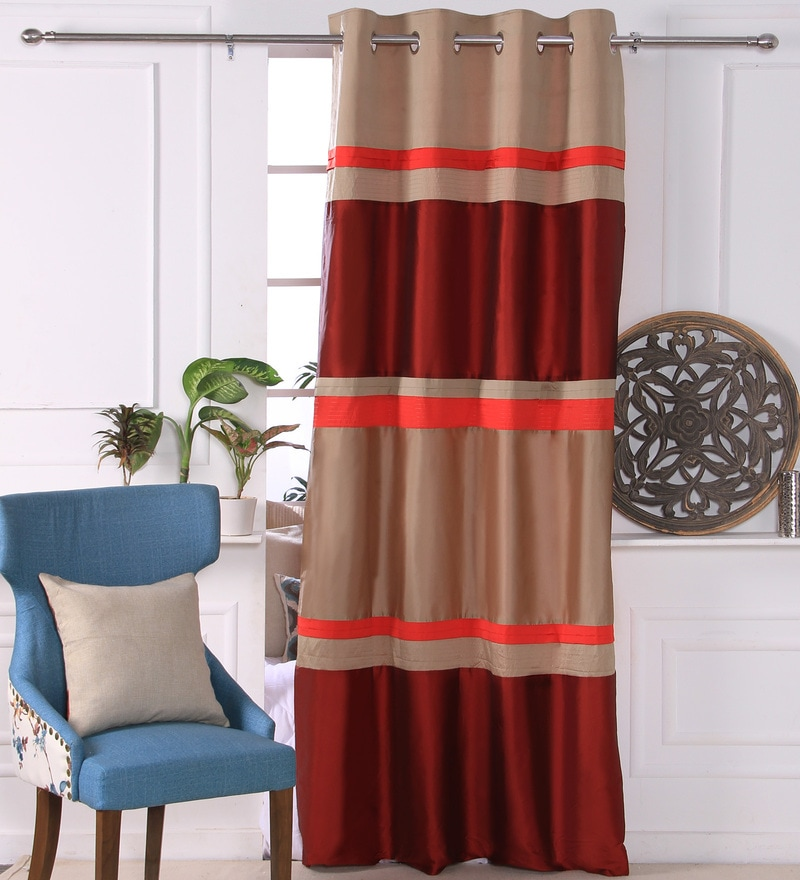 Red Polyester 53 x 84 Inch Lurex Pleat Door Curtains - Set of 2 by Eyda