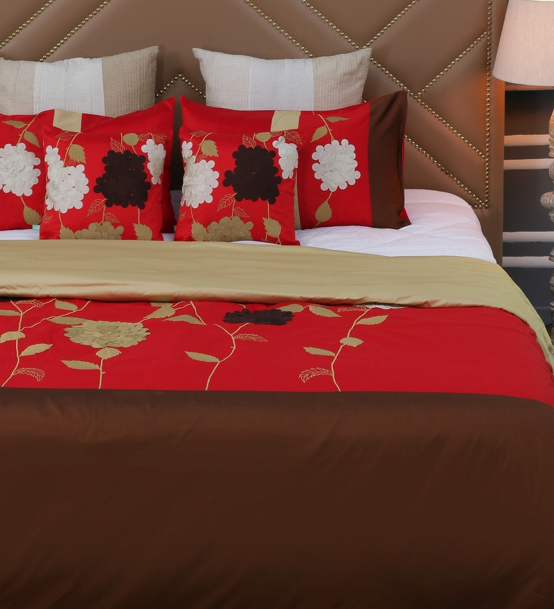 Red Polyester Queen Size Bed Cover - Set of 5 by Eyda