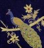 Blue Polyester 16 x 16 Inch Zari Peacock Cushion Cover by Eyda