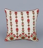 Red Polyester 16 x 16 Inch New Ribbon Spot Cushion Cover by Eyda