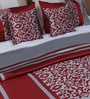 Silver Polyester Queen Size Bed Cover - Set of 5 by Eyda