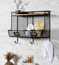 Fabuliv Black Iron And Wood 20 X 9.5 X 17.5 Inch Modern Industrial Bathroom Shelf
