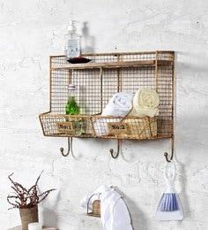 Fabuliv Vintage Yellow Iron And Wood 20 X 9.5 X 17.5 Inch Modern Industrial Bathroom Shelf