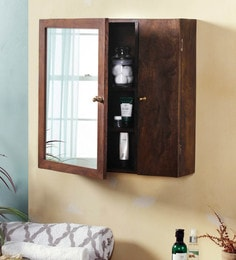 Fabuliv Walnut Mango Wood 26 5 X 6 22 Inch Elba Vintage Wall Mounted Bathroom Cabinet