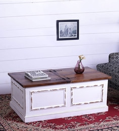 Farmhouse Coffee Table With Storage In White Finish