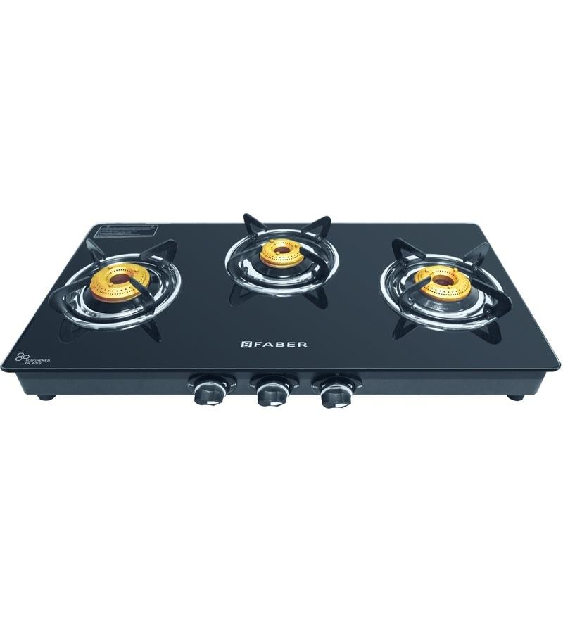 GST RELIEF DEAL - ADDITIONAL 5% OFF :: FABER Splendor 3 Burner Manual Ignition Black Cooktop